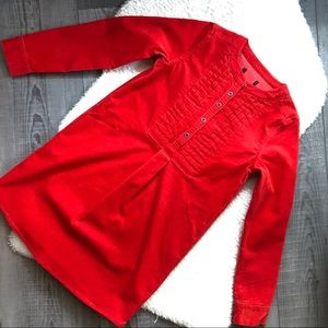 Gap Girls Red Corduroy Pintuck Dress Long Sleeve
